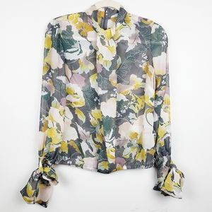 Floral Secretary Blouse with Bow Cuffs
